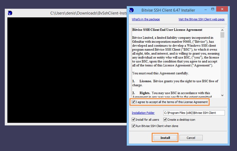Installing the SSH Client | Bitvise
