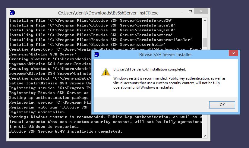 Installing Bitvise SSH Server | Bitvise